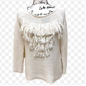 Knot Sisters Wool Blend Knit Fringe Sweater